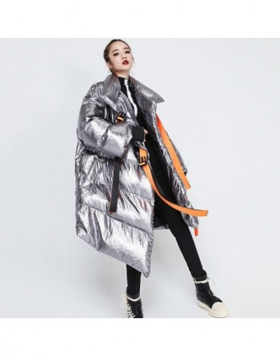 Women's Winter Down Jackets Stand Collar Long Sleeve Asymmetric Ribbons Jacket Female Fashion Clothes Tide Winter 2019 - Sil...