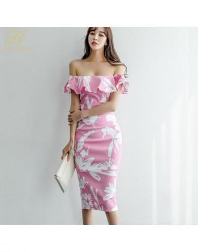 Sexy Ladies Slash Neck Ruffles Print Dress Women 2019 Summer Slim Sheath Pencil Dresses Tunic Party Bodycon Vestidos - Photo...