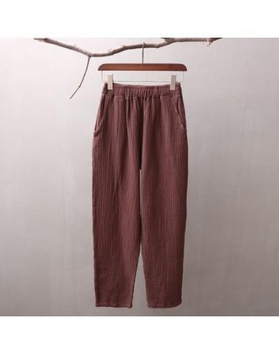 Women Brief Pants Elastic Waist 2019 Autumn New Casual Cotton Linen Trouser Vintage Suitable Pockets Pants - Coffee - 423935...