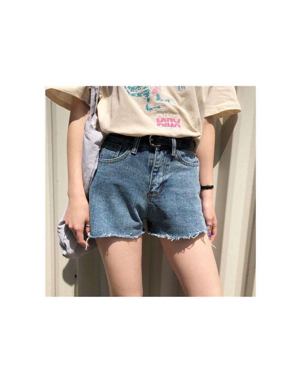 cotton jeans for lady summer casual short denim pants loose hem frayed side pockets three colors - Black - 433981037130-1