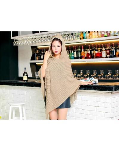 Plus Size Women's Wool Plaid Cardigan Turtleneck Cape Batwing Sleeve Knit Poncho Sweater - C19 - 4J3868785172-10
