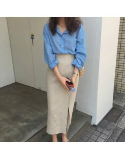 Women Summer Cotton Linen Split Long Pencil Skirt Female High Waist Zipper Faldas Jupe Femme Midi Rokken Tube Falda Spodnica...