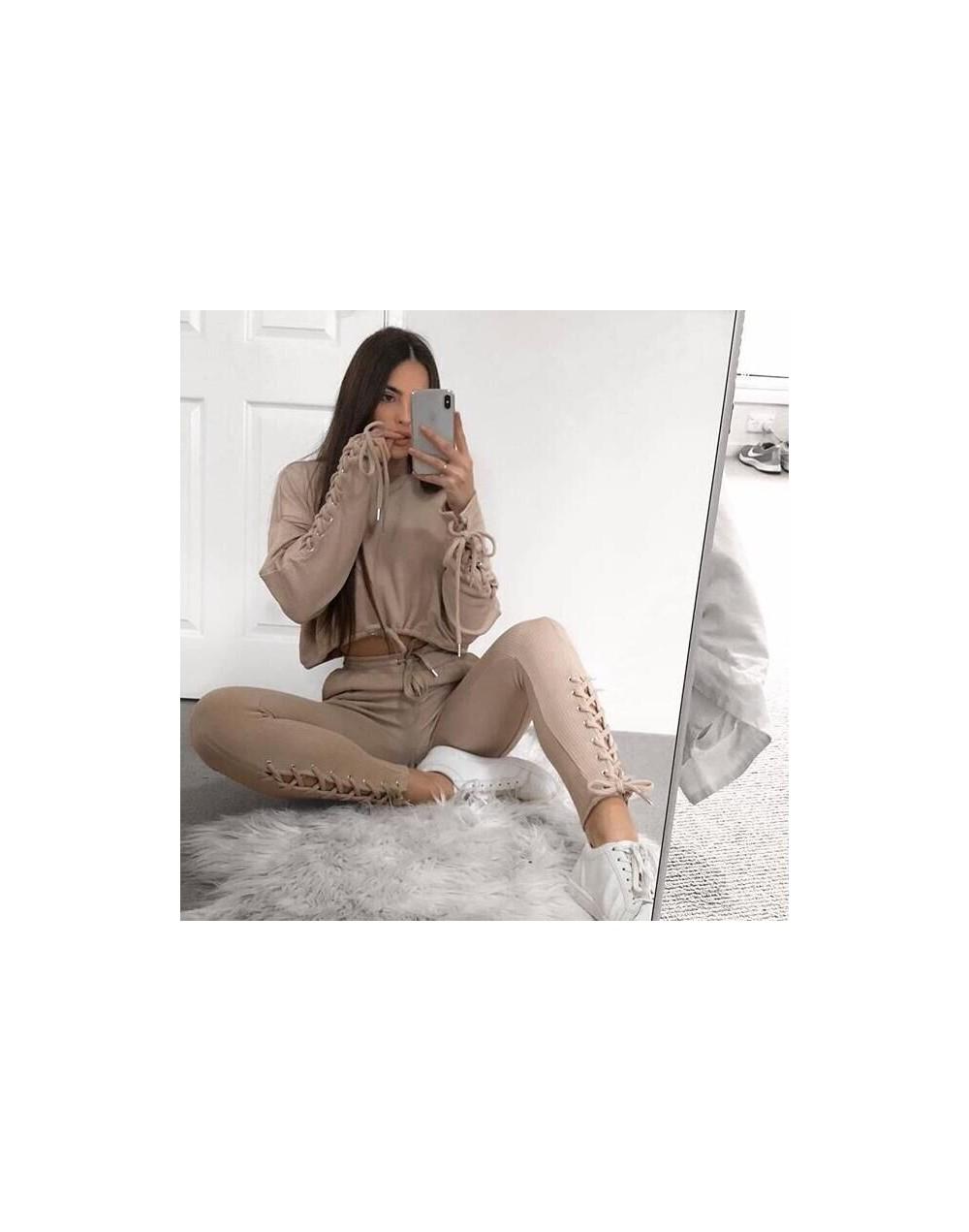 2018 New Autumn Winter Two Pieces Set Women Workout Long Sleeve Suit Cotton Women Tracksuit Crop Top And Pants Set Lady - kh...