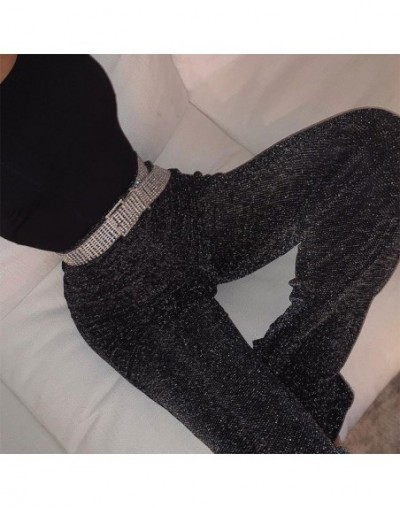 women pants solid glitter sparkle bling trousers 2019 autumn winter fashion office lady black wide leg pants - Black - 4C306...