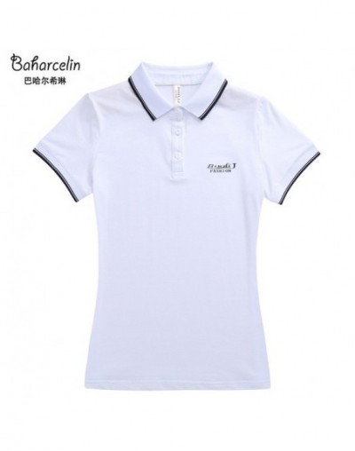 Big Size Solid Color Polo Shirt Tops women Gril Turn-down Collar Polo Tops Short Sleeve Cotton Top Clothing - white - 4N3929...