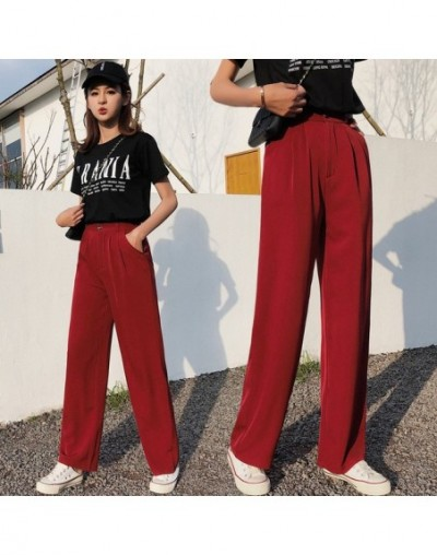 2019 Summer Wide Leg Pants For Women Black Loose Casual High Waist Pants Suit Women Trousers Straight Female - red - 4441415...