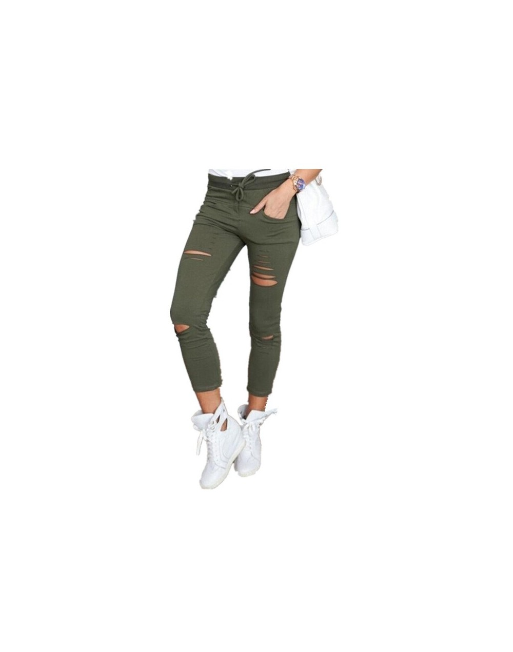 Womens Ripped Skinny Denim Jeans Ladies Push Up Jegging Trousers Black High Waist Stretch Ripped Slim Pencil Pants Plus Size...