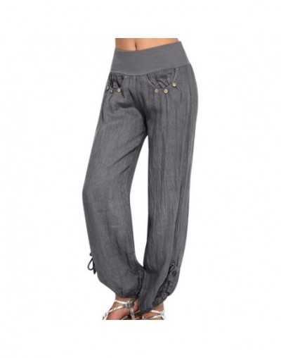 Fashion Pants Women Solid Buttons Cotton And Linen Casual Loose Trouser Wide Leg Pants pantalones de mujer - Gray - 4W412738...