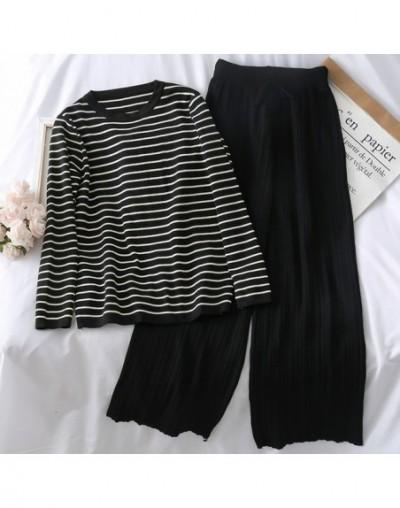Stripe Knitting Pant Set Women Short Sleeve Striped Short T-shirt + High Waist Wide Leg Pants Suit Female Casual Two Pieces ...