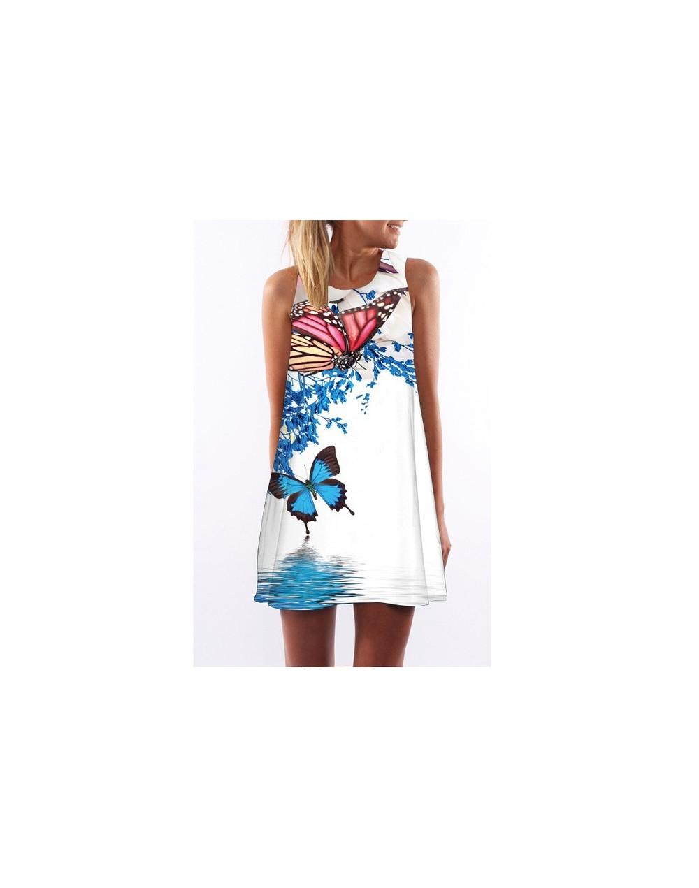 2019 summer dress women Vestidos O-Neck sleeveless print beach dress loose A-Line Dresses white floral dress - 53 - 40380902...