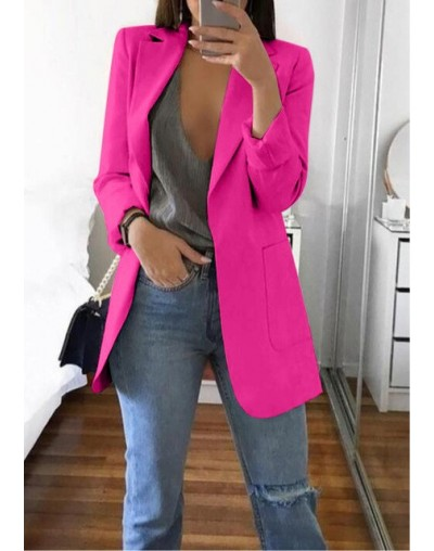 2019 Women's European and American Fashion Lapel Slim Suit Jacket Female Spring Solid Color Long-sleeved Loose Straight Blaz...