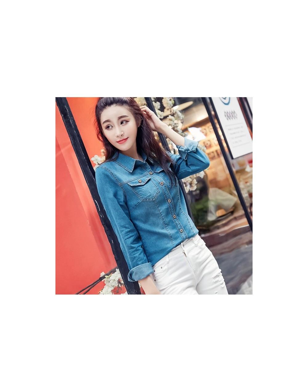 Jeans Shirt women 2019 Long Sleeve Slim Casual Vintage Elastic Ladies Denim Shirts Tops Blusas Feminina Woman Blouses and To...