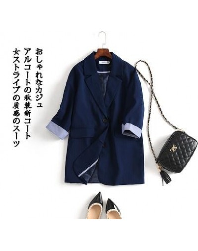Vintage Single Breasted Office Ladies Striped Blazer Half Sleeve Loose Korean Style Suit Coat Jackets Women Blazers Female 2...
