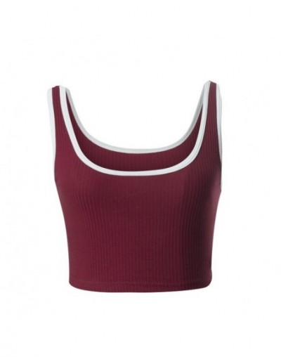 2018 new sexy women crop top o-neck sleeveless short midriff-baiing cotton knitted tank - Red - 4A3014782768-3