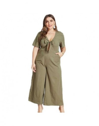 New Summer Women Sexy Plus Size Jumpsuit Solid Bow Onesies Large Size One Piece Jumpsuits Big Size Short Sleeve Playsuits XL...
