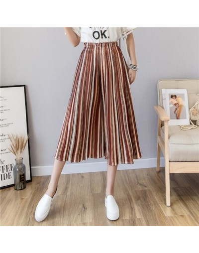 Chiffon Pleated Wide-leg Pants Female Summer Fashion High Waist Beach Striped Casual Ruffled Women Pants Multicolor 18 Color...