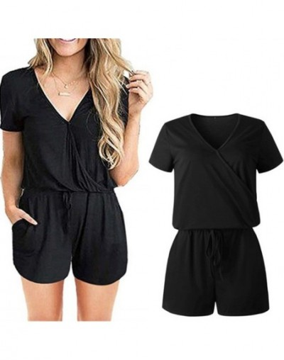 Good Quality Women's Summer Cotton Jumpsuits Casual Short Sleeve Elegant Playsuits Female Rompers Pockets Work Overalls - 04...
