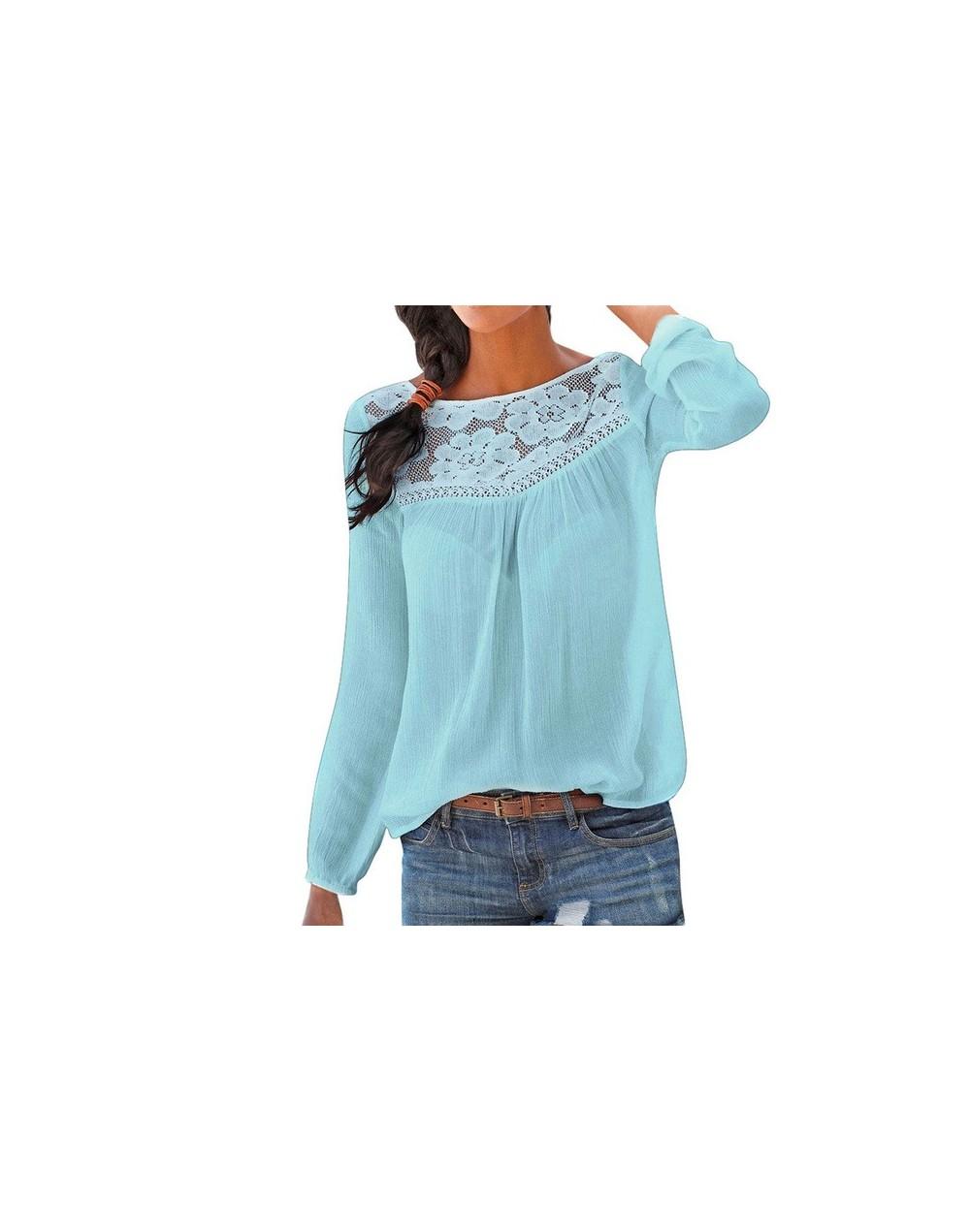 Lace Blouse Women Winter Casual Long sleeve Lace Patchwork Tops Women Blouse Shirt Tunique Femme Manche Longues - Blue - 4C3...