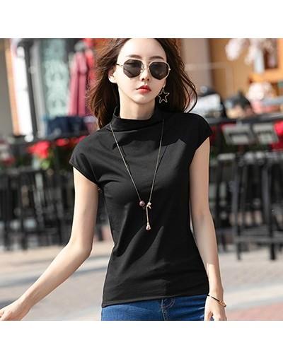 Tops Mujer Verano 2019 Summer New Cotton Solid Basic T Shirt Women Short Sleeve Turtleneck Tshirts White Black Tee Femme Shi...
