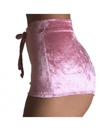 S-XL Women Velvet Drawstring Shorts Casual High Waist Autumn Winter Sexy Elegant Skinny Shorts - Pink - 4A3885467781-5