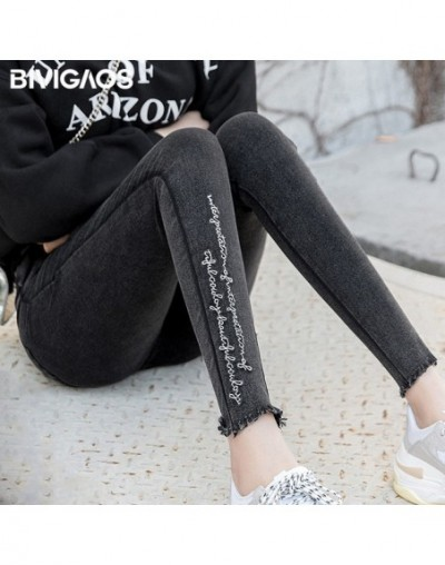 Spring New 2018 Burrs Legs Embroidered Letters Washed Jeans Leggings Skinny Jeggings Slim Woven Pencil Pants For Women - Was...