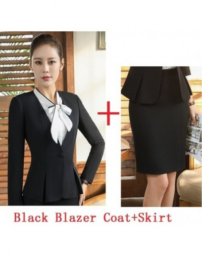 Plus Size Elegant Black Autumn Winter Formal OL Styles Blazers Suits With Jackets And Skirt For Ladies Office Business Blaze...