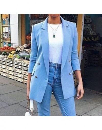 Long Sleeve Solid Color Turn-down Collar Coat Lady Business Jacket Suit Coat Slim Top Women blazers OL Cardigan - W32603BL -...
