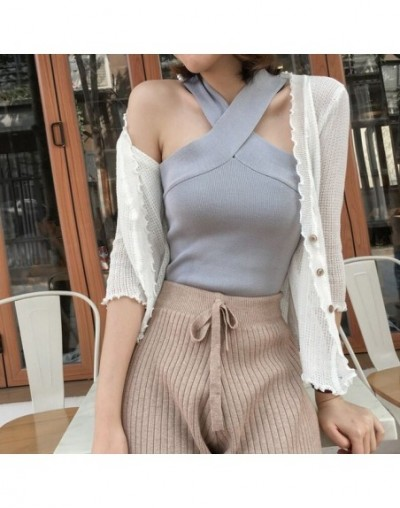 Girls Slim Bodycon Tank Tops Lady Sleeveless Short Solid T-Shirt Camis Tees Top with Crossed Straps for Woman - grey - 41397...