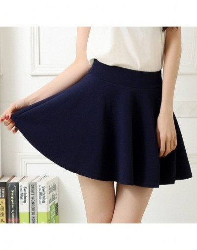High Waist Elastic Mini Skirts with Safety Pants Women Casual A-line Pleated Skirts Harajuku Kawaii Cute School Skirts - Nav...