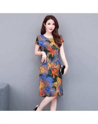 Summer Dress Women 2019 New Summer Middle-aged Fashion Print Loose Sundress Casual Short Sleeve Plus Size Elegant Vintage Dr...