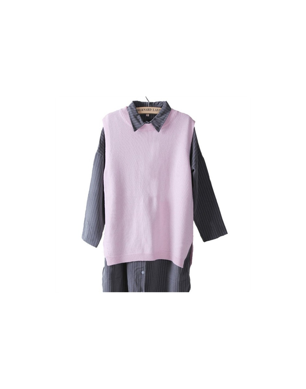 Women Winter&Autumn O-Neck Cashmere Blend Sleeveless Vest Sweater Korean Style Fashion Lady Knitwear Jumper - pink - 4O35441...