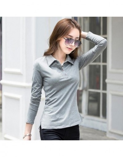 Women's Long-sleeved Polo Shirt Autumn Spring 2019 Fashion Cotton Plus Size Female Solid Polos Bottom Lapel Shirts Tops - Gr...