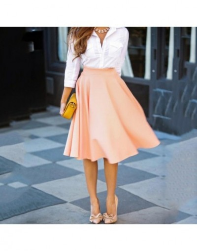 Women High Waist A-Line Skirt Female Clothing Casual Solid Loose Knee-Length Pleated Skirts - Pink - 5Z111152936467-2