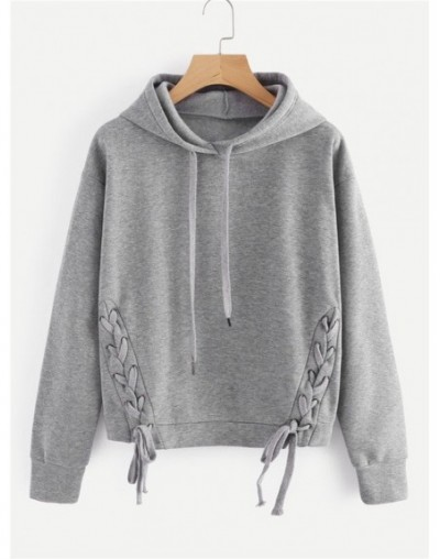 New Arrival 2018 Women Fashion Autumn Winter Short Sweatshirt Lace-up Hooded Casual Girls Hoodies Pullover SS6265 - gray - 4...