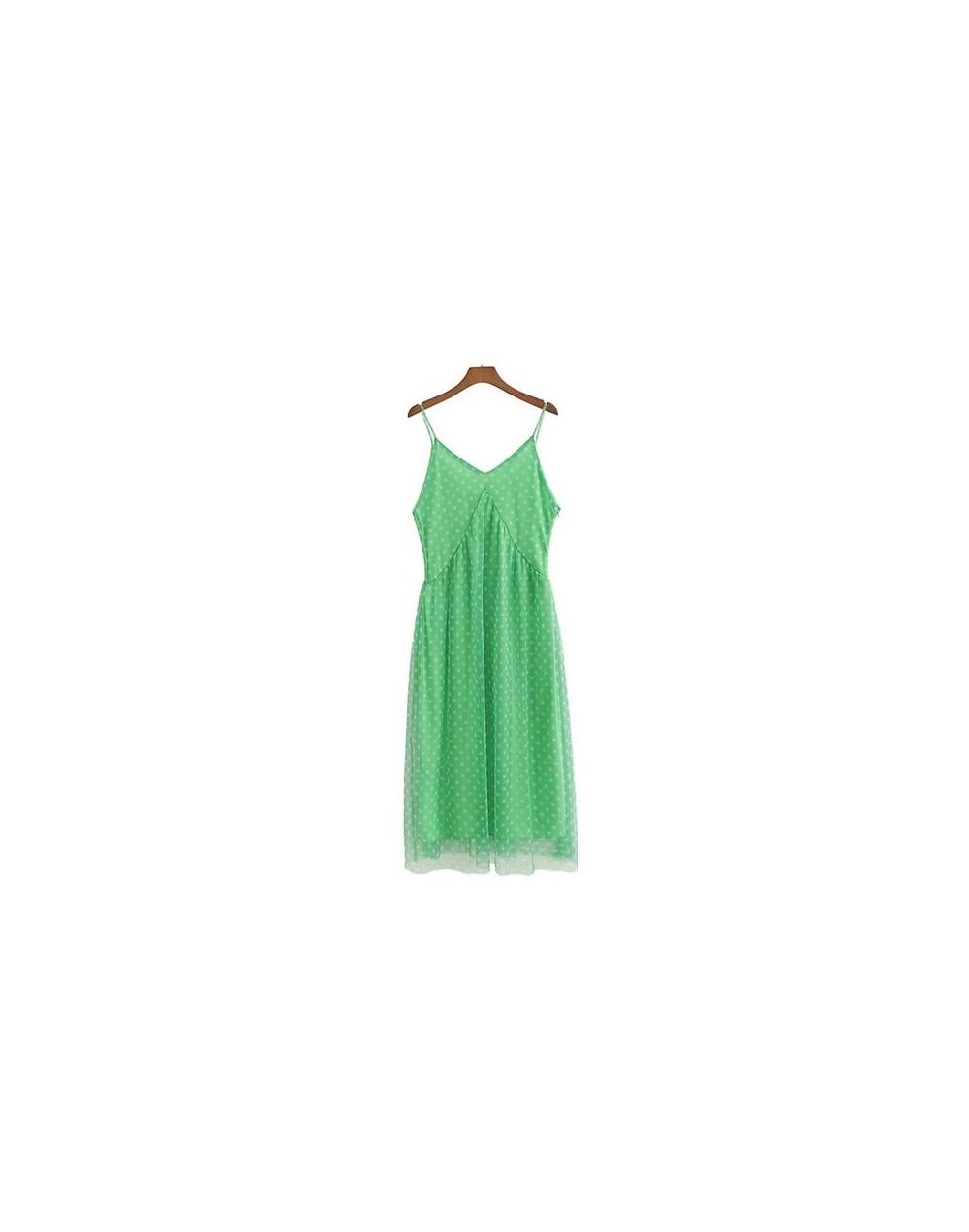 women polka dots V neck backless dress sleeveless side zipper fly design mesh female sweet casual mid calf dresses QC058 - g...