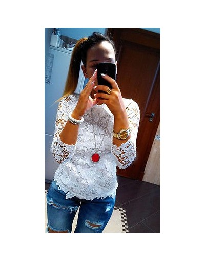 Fashion Women Ladies Lace Tee Long Sleeve Casual T-Shirt Tops Lace Embroidery Tops - White - 4W3770969385