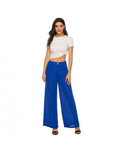 Pleated Wide Leg Pants Office Lady Slant Pocket Elegant Workwear Women Trousers Solid Color Loose - royal blue - 4Q4173461067-2