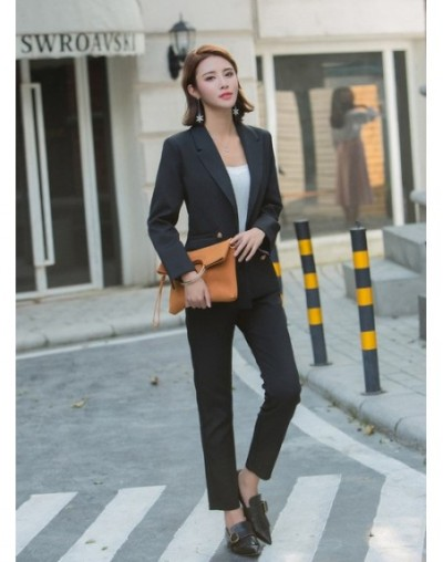 Women's suit 2019 autumn new fashion double-breasted blazer casual slim elastic waist pants two sets of wild women's clothin...