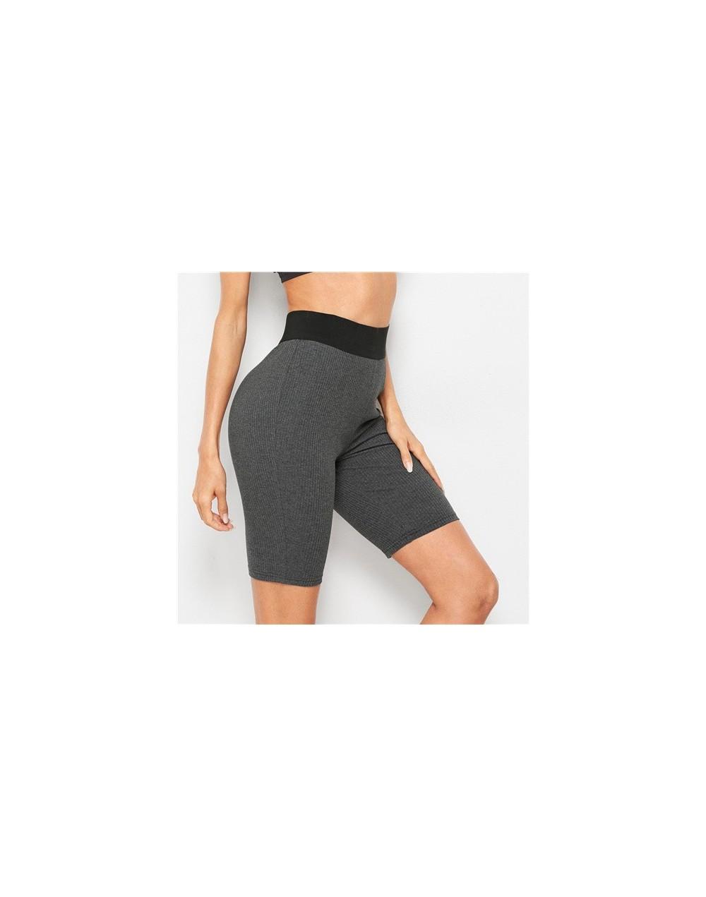 Contrast Waist Rib-knit Skinny Cycling Shorts Active Wear Women Biker Shorts 2019 Summer Fitness Casual Grey Shorts - Dark G...