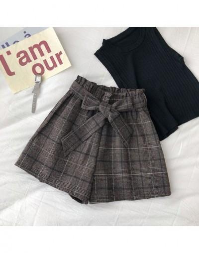 Female Plaid Straps Decoration Elastic High Waist Shorts Casual Versatile Wide Leg with Belt - Coffee color - 5J111185151157-4