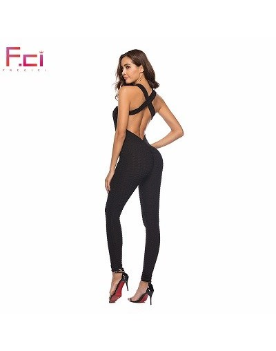 Women Sexy Jumpsuit Rompers Long Flaws Textured Cross Back Bubble One Piece Jumpsuit Sleeveless Rompers Bodycon Red Pink - B...