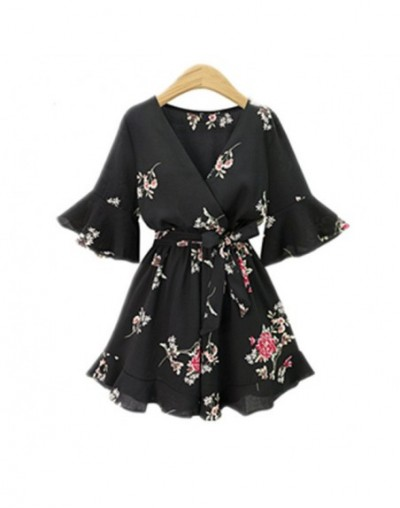 2018 Black Short Rompers Printing Flower V Neck Jumpsuit plus size 5XL Tie Waist Casual Summer Sexy Deep Women Jumpsuits S7N...