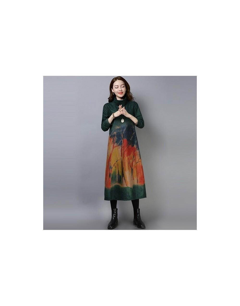 long sleeve woolen plus size vintage floral casual loose autumn winter party dress elegant women vestidos clothes 2019 dress...