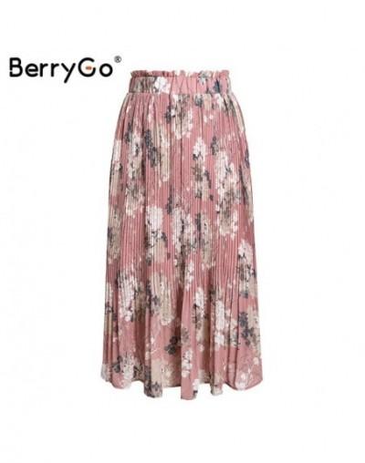 Elegant ruffled women skirts pleated skirts high waist chiffon long skirt Floral print skirt summer midi tutu skirt 2019 - P...