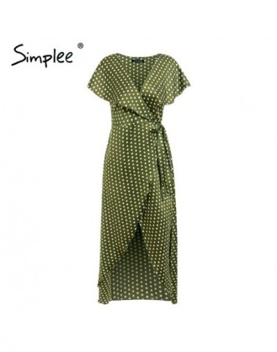 Vintage dots print satin women summer dress 2019 Elegant v neck wrap sashes dresses Sexy female party long dress - Green - 4...