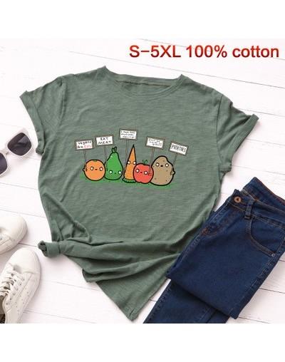 Vegan Basic T-shirt Women Fashion Harajuku fruit basic tops casual vegetable Tees summer oversized print cotton tshirt - arm...