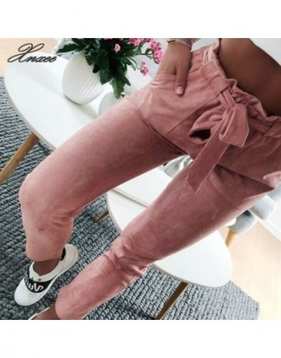 New style 2019 Fashion women suede pants ladies Leather bottoms female trouser Casual Red wine pencil pants high waist trous...