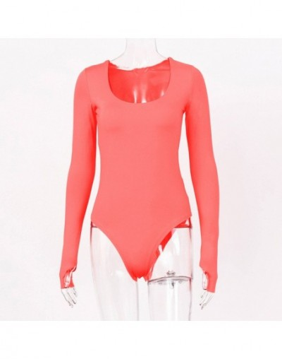 2019 Autumn Winter Sexy Women O-Neck Slim Bodysuit Fluorescent Orange Party Playsuit Skinny Solid Rose Red Long Sleeve PL852...