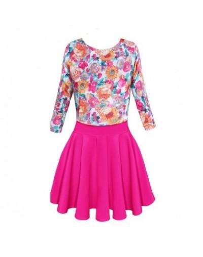 Women Ladies Elegant 3/4 Sleeve Floral Splicing Dresses Casual Pleated Dresses WOMDY0015 - Hot Pink - 453038862724-4