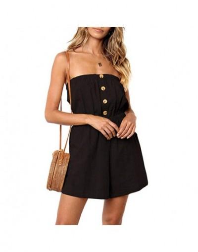 Women Summer Off Shoulder Jumpsuit Strapless Solid Color Button Down Elastic Waist Short Jumpsuit -MX8 - Sky Blue - 4000086...